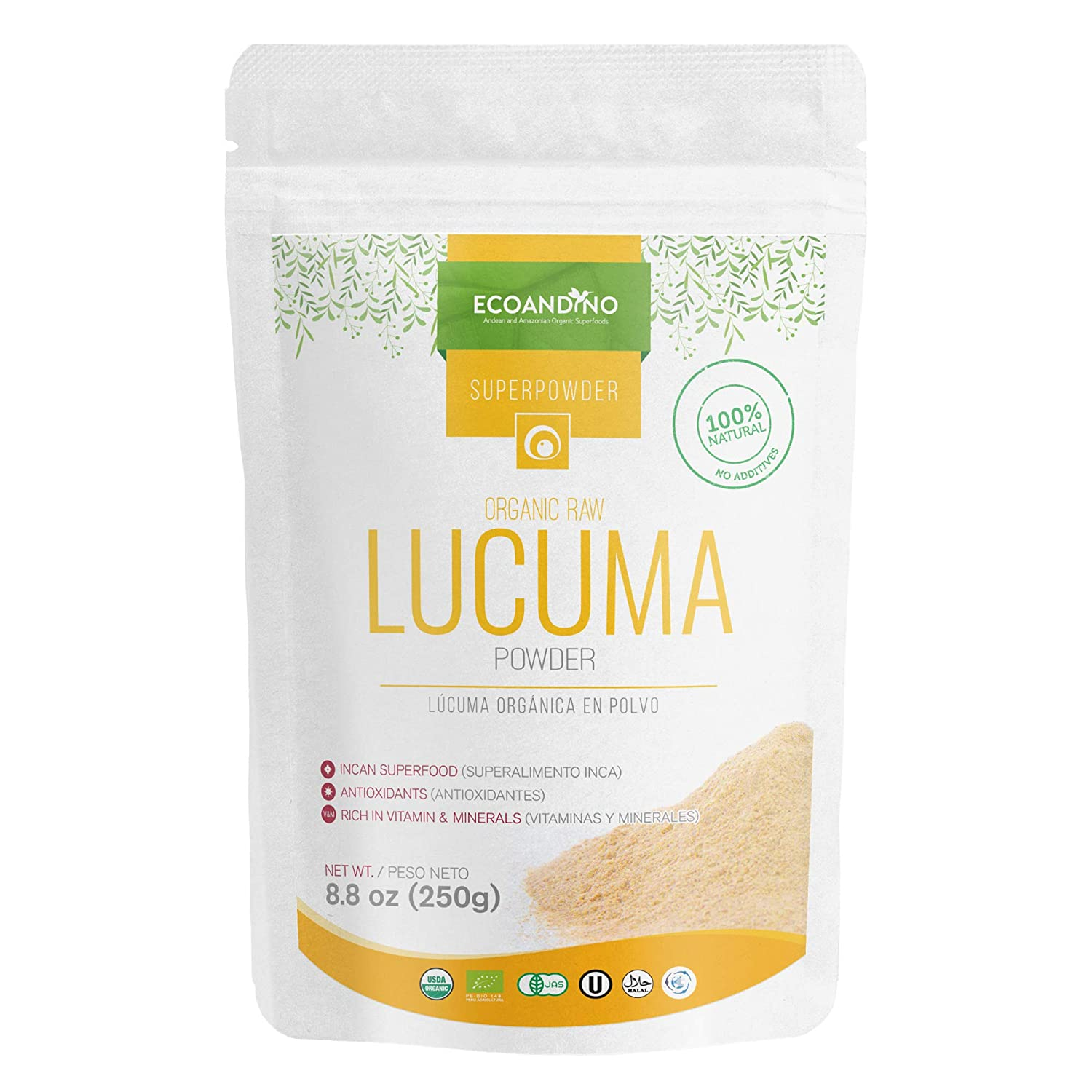 Ecoandino Organic Raw Lucuma Powder 7.05 oz (200 grams) Resealable Doypack bag (Pack of 1): Amazon.com: Grocery & Gourmet Food