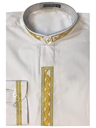 Sunrise Outlet Mens Banded Collar Dress Shirt With Embroidery At