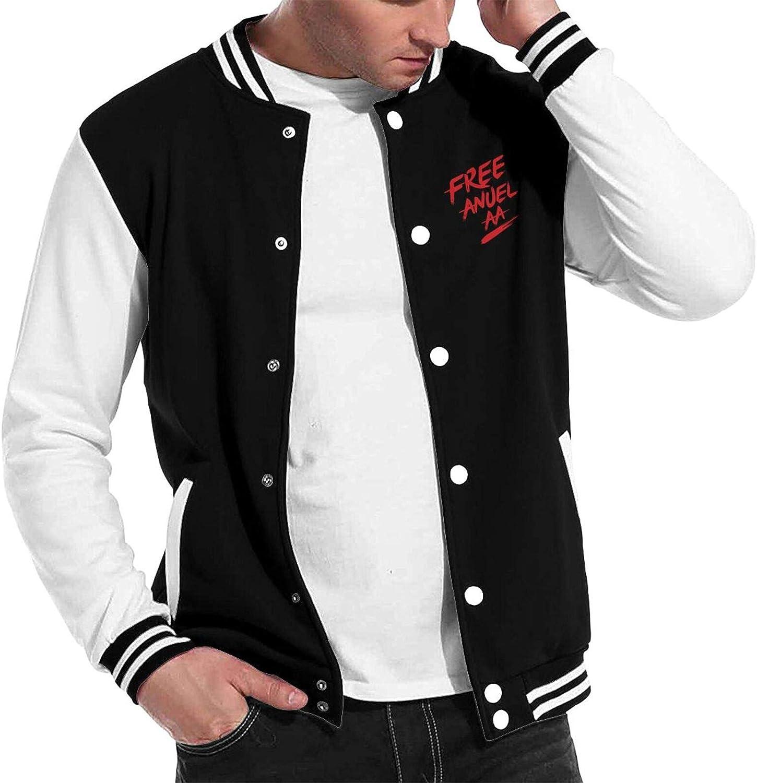 Vonicap Anuel-Aa Unisex Hipster Baseball Uniform Jacket Sport Coat Black Black