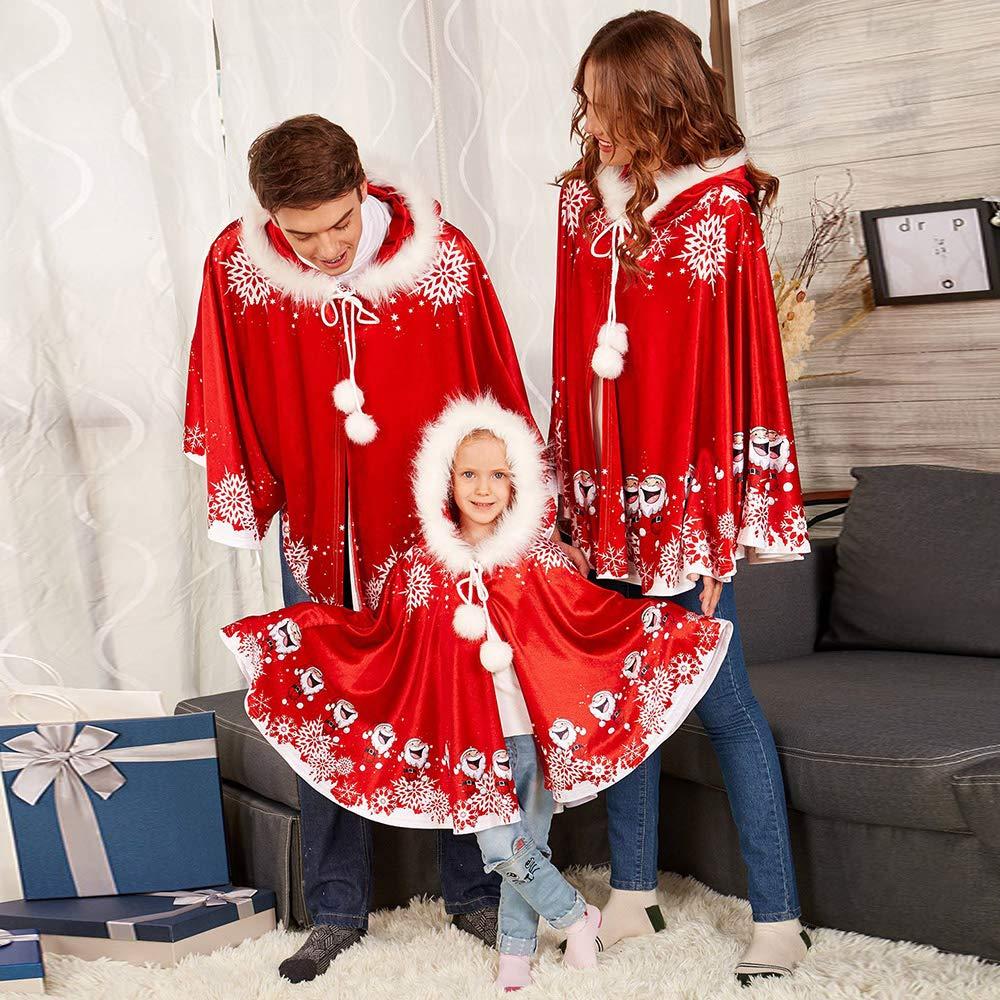 Dihope Unisexe Parent-Enfant Cape /à Capuche Chaud Capuchon Femme Homme Costume No/ël Party Soir/ée Adultes D/éguisement Cosplay Halloween