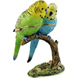 2 BUDGERIGAR Birds On Branch Budgies Trinket Box / Ornament - New Gift