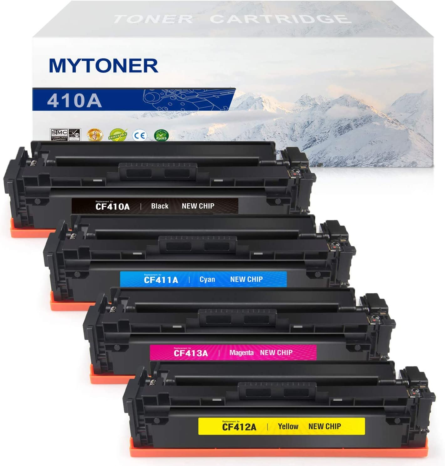 MYTONER Compatible Toner Cartridge Replacement for HP 410A CF410A CF411A CF412A CF413A 410X (Black Cyan Magenta Yellow, 4-Pack)