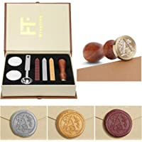 Seal Wax Kit,PUQU Vintage Initial Letters A-Z Alphabet Wax Badge Seal Stamp Kit Wax Set Tool Gift(A)