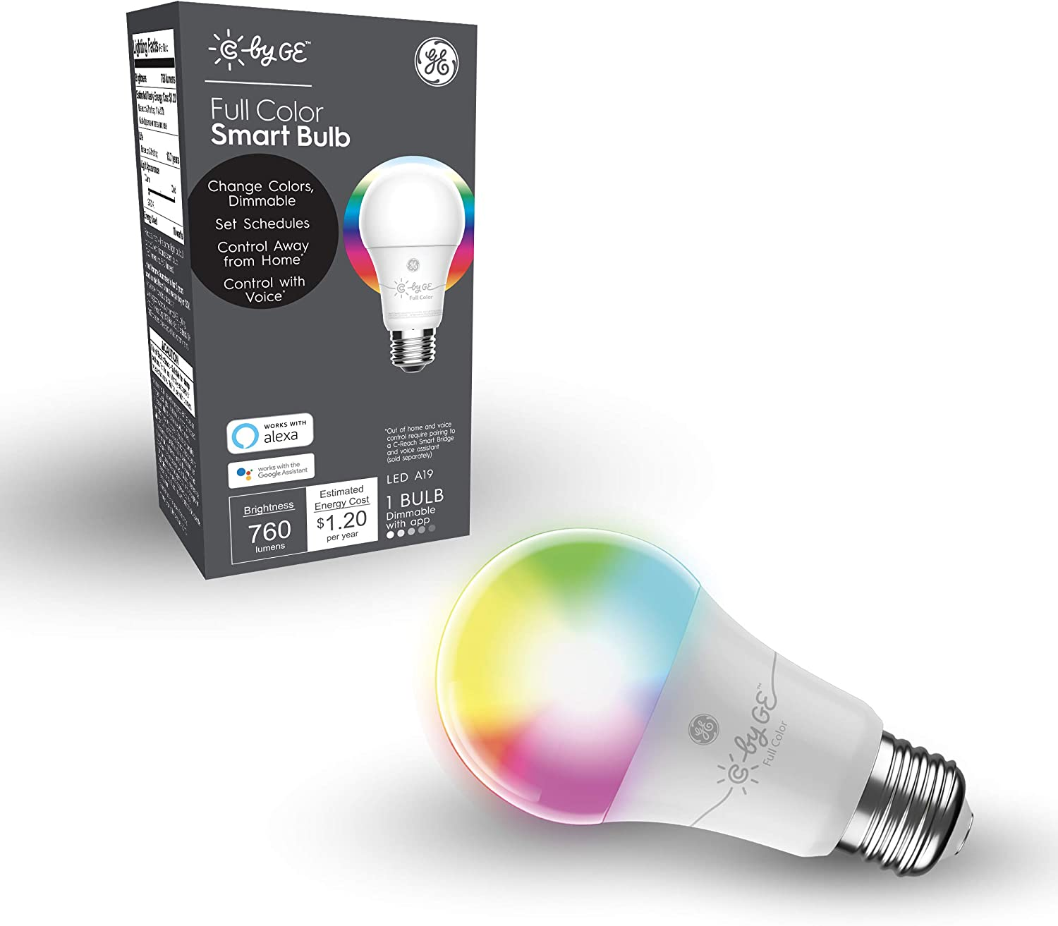 C by GE A19 LED Smart Light Bulb - Full Color Changing Light Bulb, 1-Pack, Works with Amazon Alexa and Google Home, Bluetooth Light Bulb