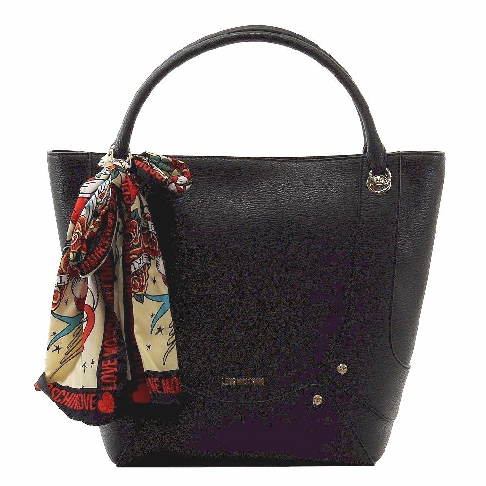 Love Moschino Women's Black Pebbled & Studded Tote Handbag W/Scarf