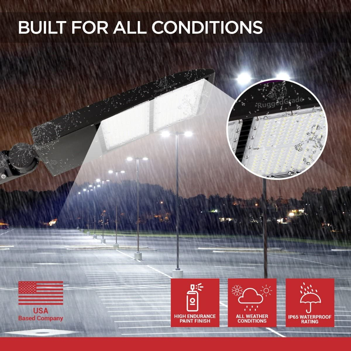 300 Watt NextGen II LED Parking Lot Lights NO photocell Slip Fit Mount Replaces 1000W Halide Super Efficiency 135 Lumen to Watt 5000K Bright White LED Shoebox Lights 40,500 Lumen