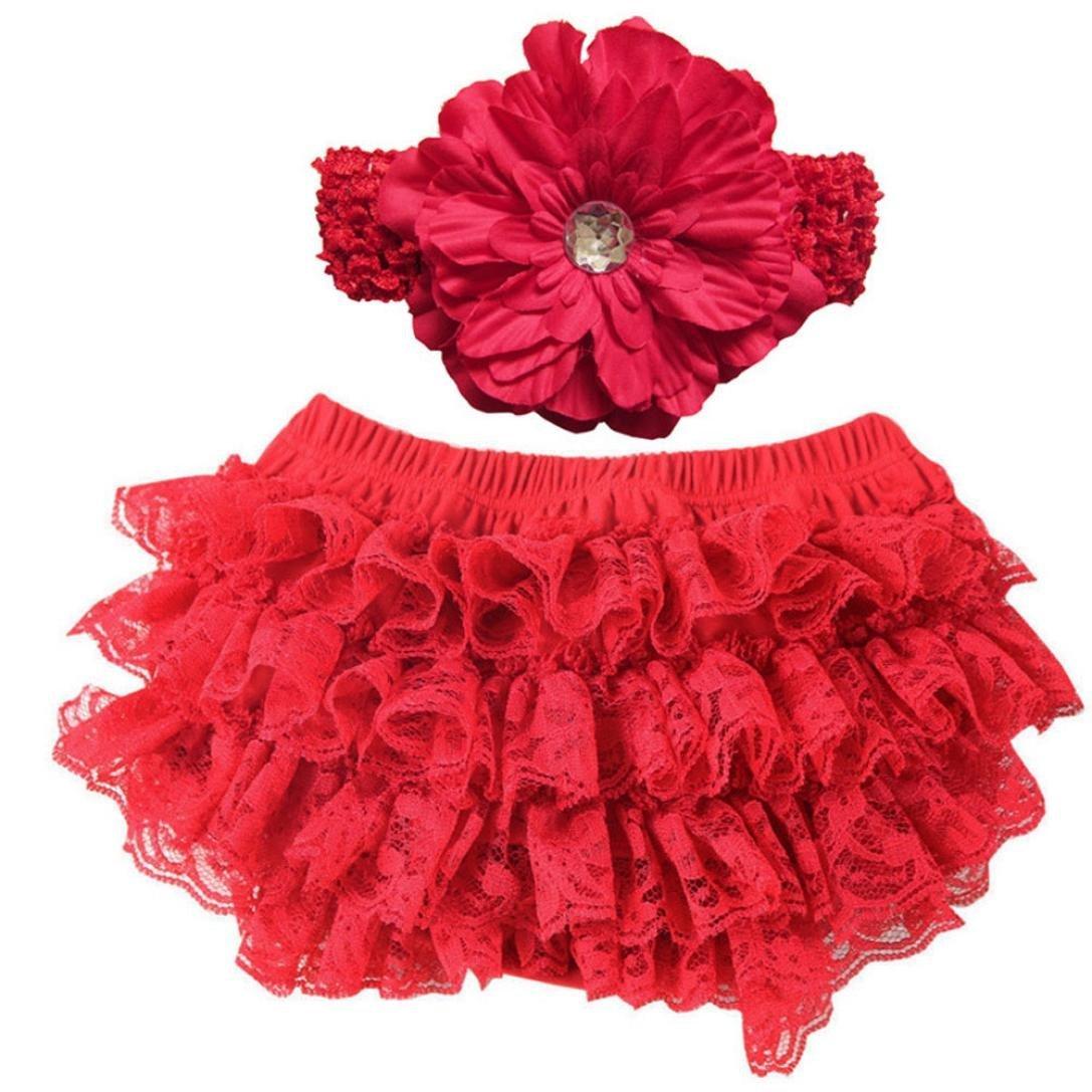 Yoyorule Baby Diaper Cover Newborn Flower Headband Shorts Toddler Tutu Skirt Yoyorule 1