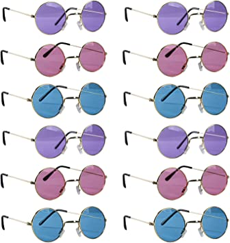 Tigerdoe Hippie Gafas de Sol - John Lennon - 12 Gafas de Sol Retro Pack - 70 DE Hippie Accesorios de Traje - Un tamaño Vistoso: Amazon.es: Juguetes y juegos