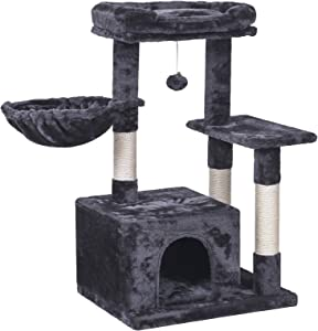 BEWISHOME Cat Tree Condo with Scratching Post Cat Tower Padded Plush Perch and Cozy Basket for Kitten MMJ11