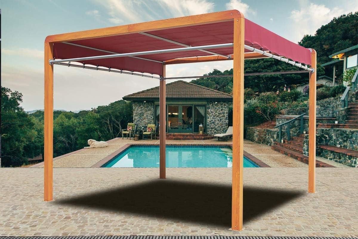 HABRITA Pérgola imitación madera estructura aluminio: Amazon.es: Jardín