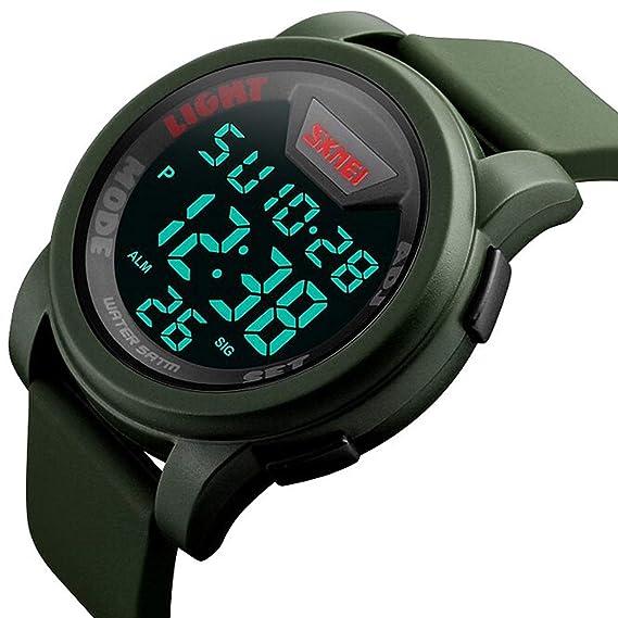 Reloj Deportivo Digital para Hombre con Pantalla LED de Gran tamaño y Esfera Militar, Resistente al Agua, Luminoso, Alarma de cronómetro, Reloj Militar ...