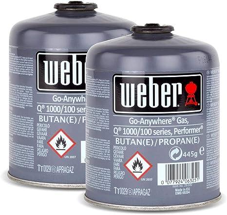 Juego de bombonas de gas 26100 para la serie Q 100 de Weber y Performer Touch-N-Go, 2 unidades