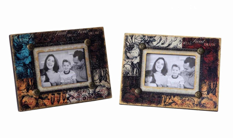10215 Set of 2 Xinan Artware Co Attraction Design Wood Antique Photo Frame