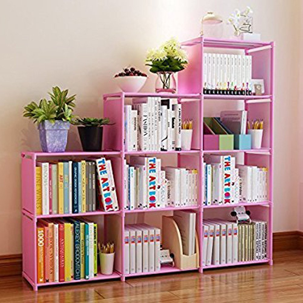 Korie 30 inch Stair Shape 9-Cube Bookcase Bookshelf Adjustable DIY Cube Storage Shelves Unit (Pink)