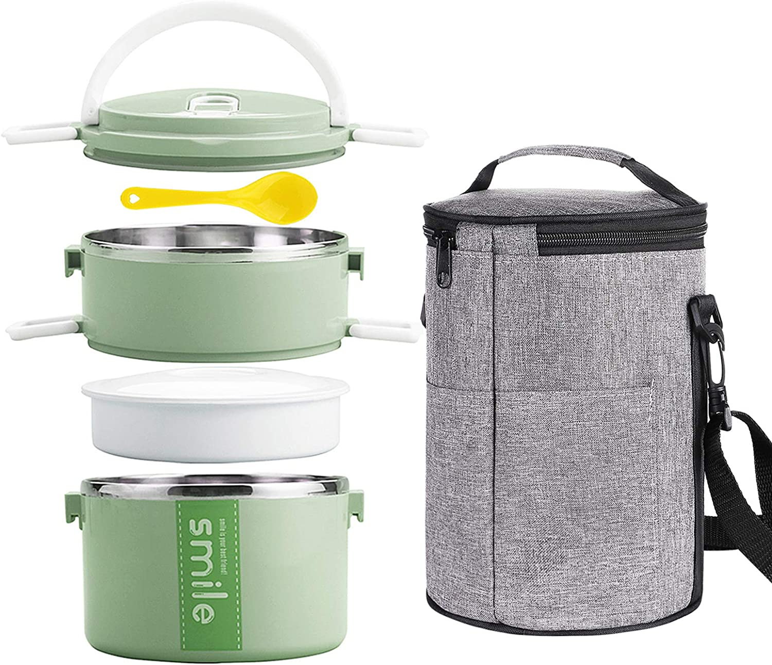 YBOBK HOME Bento Lunch Box Stainless Steel Insulated Thermal Stackable Thermos Lunch Box with Microwave Safe Food Containers and Bag for Adults (Green)