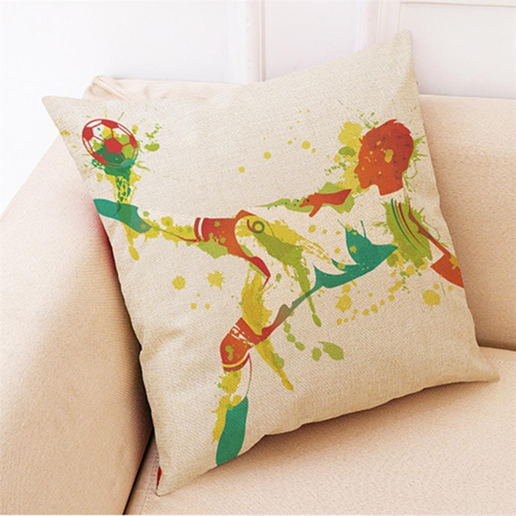 cuadrada 45 cm x 45 cm A funda de almohada de f/útbol para decoraci/ón del hogar Winkey Funda de almohada 45cm*45cm//18*18