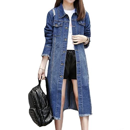 41b2bbafe89c0 AngelSpace Women Mid-Long Oversize Baggy Spring Jean Overcoat Jacket 2XL