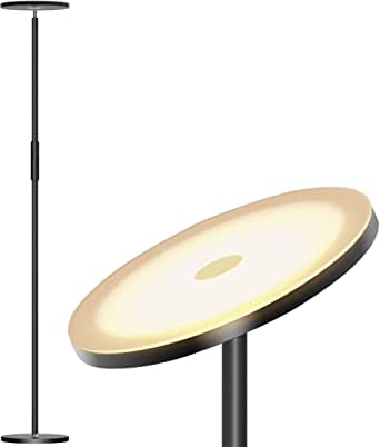 Addlon LED Torchiere Floor Lamp - Tall Standing Modern Lamp Pole Light for Living & Office – Stepless Dimmable Uplight with Wall Switch - Coffee