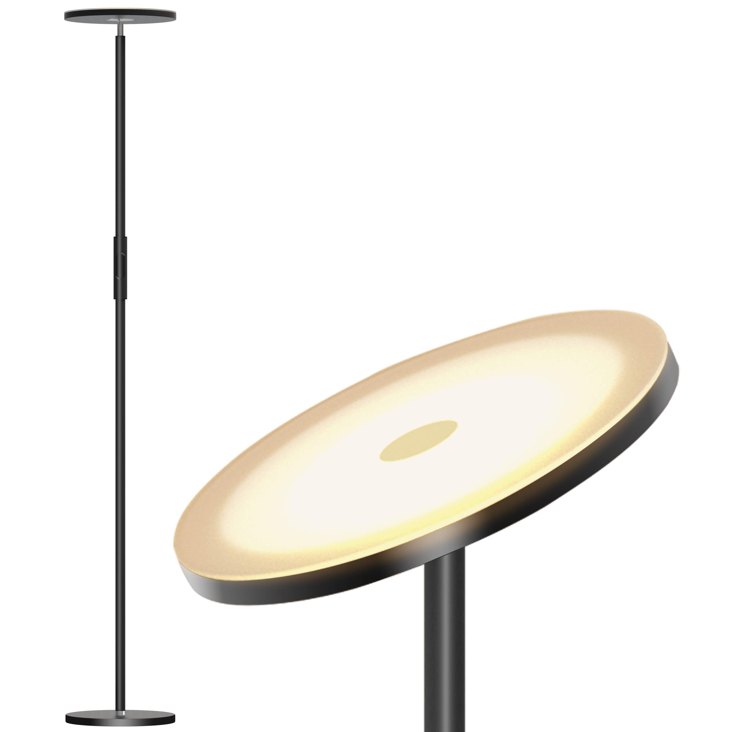 LED Torchiere Floor Lamp Dimmable 30W, Tall Standing Modern Pole Light for Living Rooms & Offices, Compatible with Wall Switch