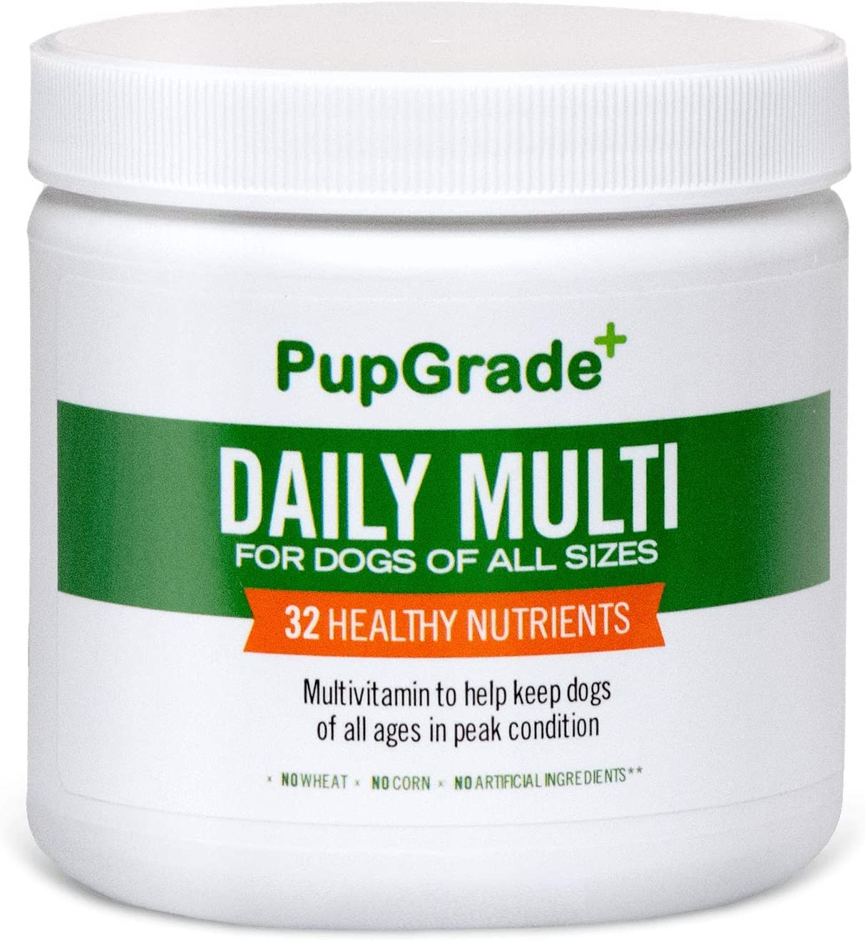 PupGrade Daily Multi-Vitamin for Dogs All-in-One Supplement for Digestive, Skin Coat Health – Probiotic Enzymes, Omega Fish Oil, Vitamins A, C, D E – All Natural Treat Made in USA – Soft Chews