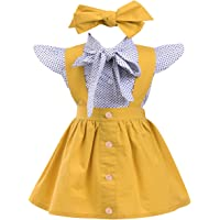 annvivi niños bebé niña, juego de trajes de lunares volantes manga lazo camisa parte superior + Liguero Tirantes Falda overol con diadema