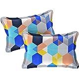 """Amrange Designer Printed 2 Piece Cotton Pillow Cover Set - 17"""" x 27"""", Multicolour"""