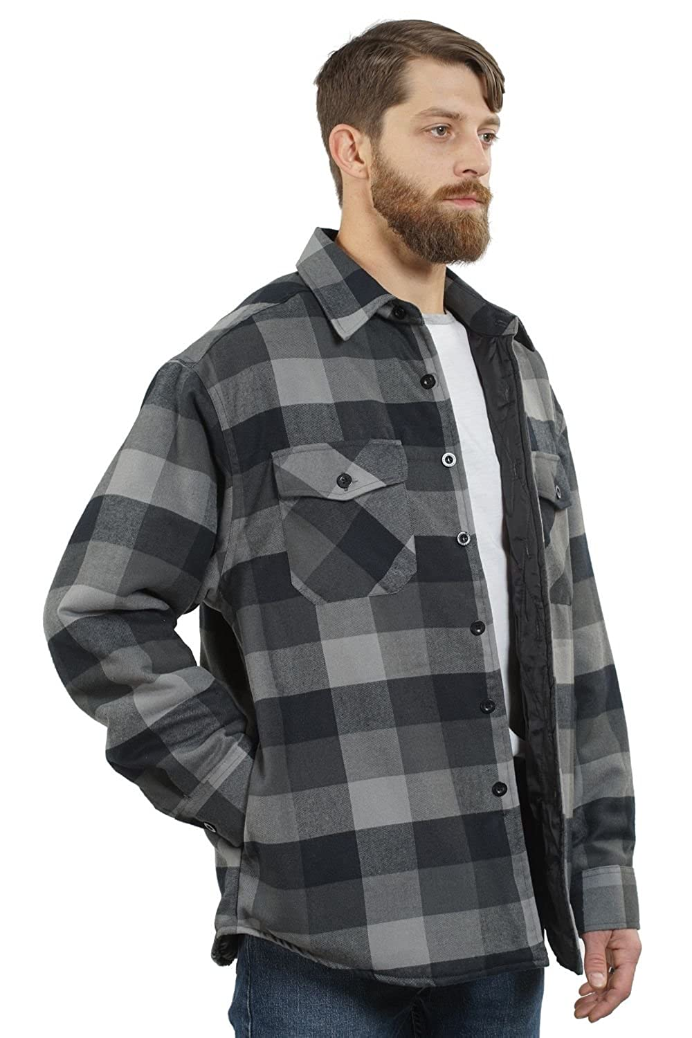 YAGO Mens Outdoor Quilted Lining Flannel Plaid Button Down Shirt Jacket with Side Pockets