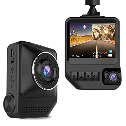 Amazon Com Dash Cam Dual Cameras For Cars 1080p Front And 720p Rear