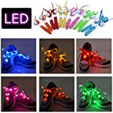 AYAMAYA 2 Pairs LED Nylon Shoelaces Light Up Shoe Laces with 3 Flashing Modes Lighting the Night for Christmas Gift Party Disco Dancing Cycling Hiking Running