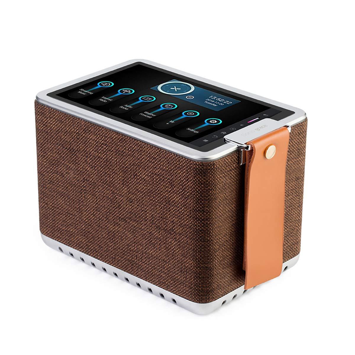 Sonicgrace Wi-Fi Internet Radio, 8'' High Definition Touchscreen, 40W Wireless Hi-Fi Stereo Speaker, 8-in-1 Multifunctional Bluetooth Speaker - Brown