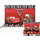 Botong 7x5ft Cartoon Car Mobilization Birthday Party Themed Backdrops Car Racing Story Black White Grid Red Photo Backgrounds for Photography Birthday Party Banner th74-7x5FT