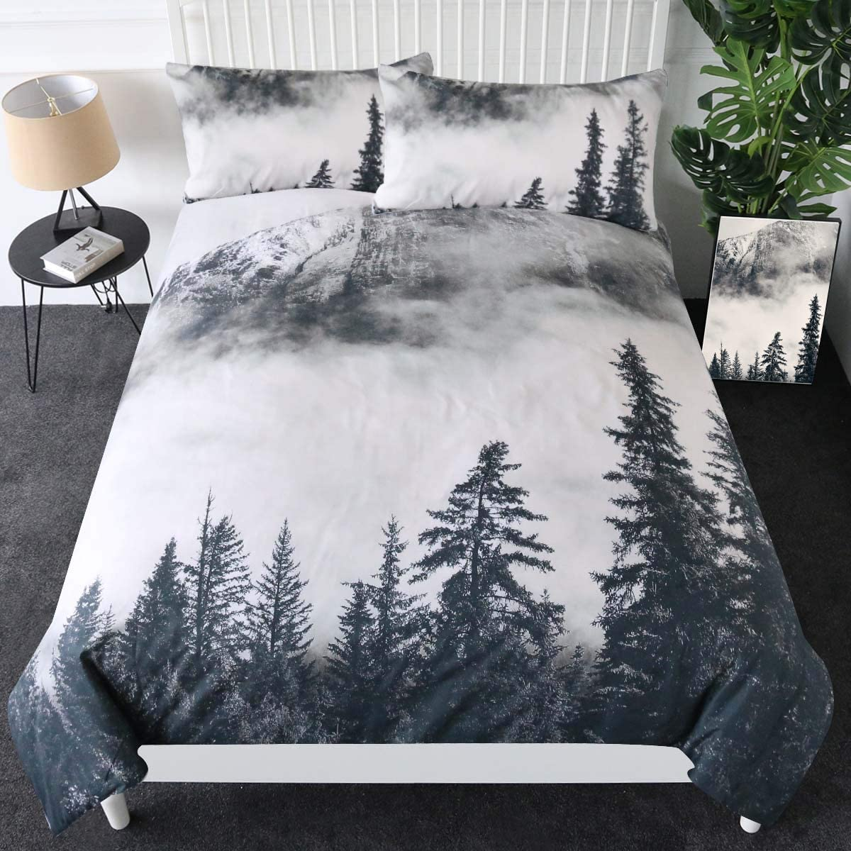 Sleepwish Smoky Mountain Bedding Forest Duvet Cover 3 Pieces Grey Trees Natural Scenery Art Bedspread Nature Lover Gift (King)