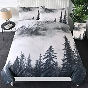 Sleepwish Smoky Mountain Bedding Forest Duvet Cover 3 Pieces Grey Trees Natural Scenery Art Bedspread Nature Lover Gift (Queen)