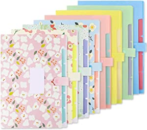 EOOUT 8pcs Expanding File Folders, Plastic Accordion Document Organizer with 5 Pockets Snap Closure, US Letter and A4, with 64 Labels Stickers, for School, Office