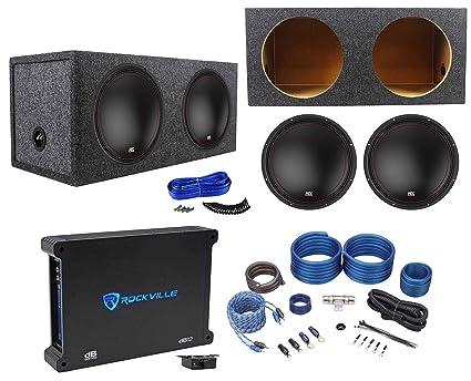 "MTX 3510-04S 10/"" 1200 Watt Shallow Slim Subwoofers Subs+Amplifier+Amp Kit 2"
