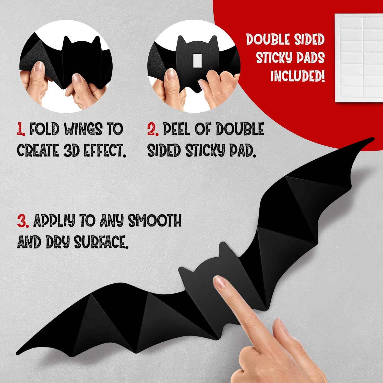 Halloween 3D Bats Decoration, 4 Sizes Realistic PVC Scary Bats Window Decal Wall Stickers for DIY Home Bathroom Indoor Decoration Party Supplies: Kitchen & Dining