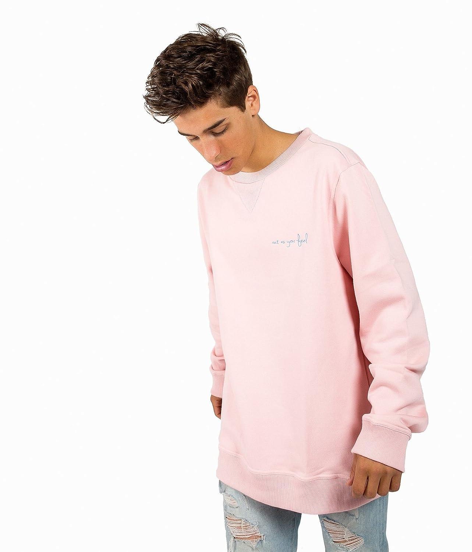 SIMPEL Sudadera de color Rosa para Hombre Actasyoufeel. Sudadera sin capucha.: Amazon.es: Ropa y accesorios