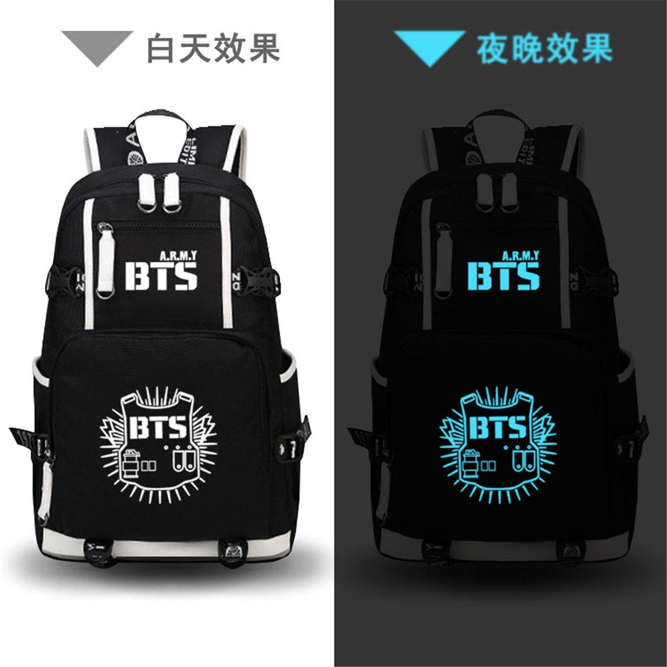 JUSTGOGO Luminous Korean Casual Daypack Laptop Bag College Bag Book Bag School Bag Backpack (Black 1) by JUSTGOGO (Image #2)