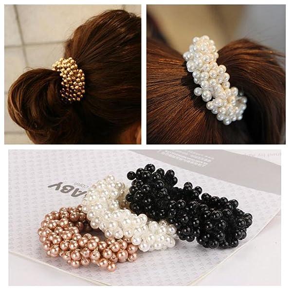 Casualfashion 3Pcs Fashion Korean Hair Accessories Beaded Elastic Hair Ties for Women Girls Pearls Hair Bands Rope
