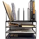 Blu Monaco Black Wire Mesh Desk Organizer - Paper Organizer Tray - Vertical File Organizer - Letter Tray - Inbox Organizer - Office Desktop Document Organizer - Black Metal Mesh