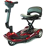EvRider Easy Move Mobility Scooter Remote Automatic Folding, Burgundy