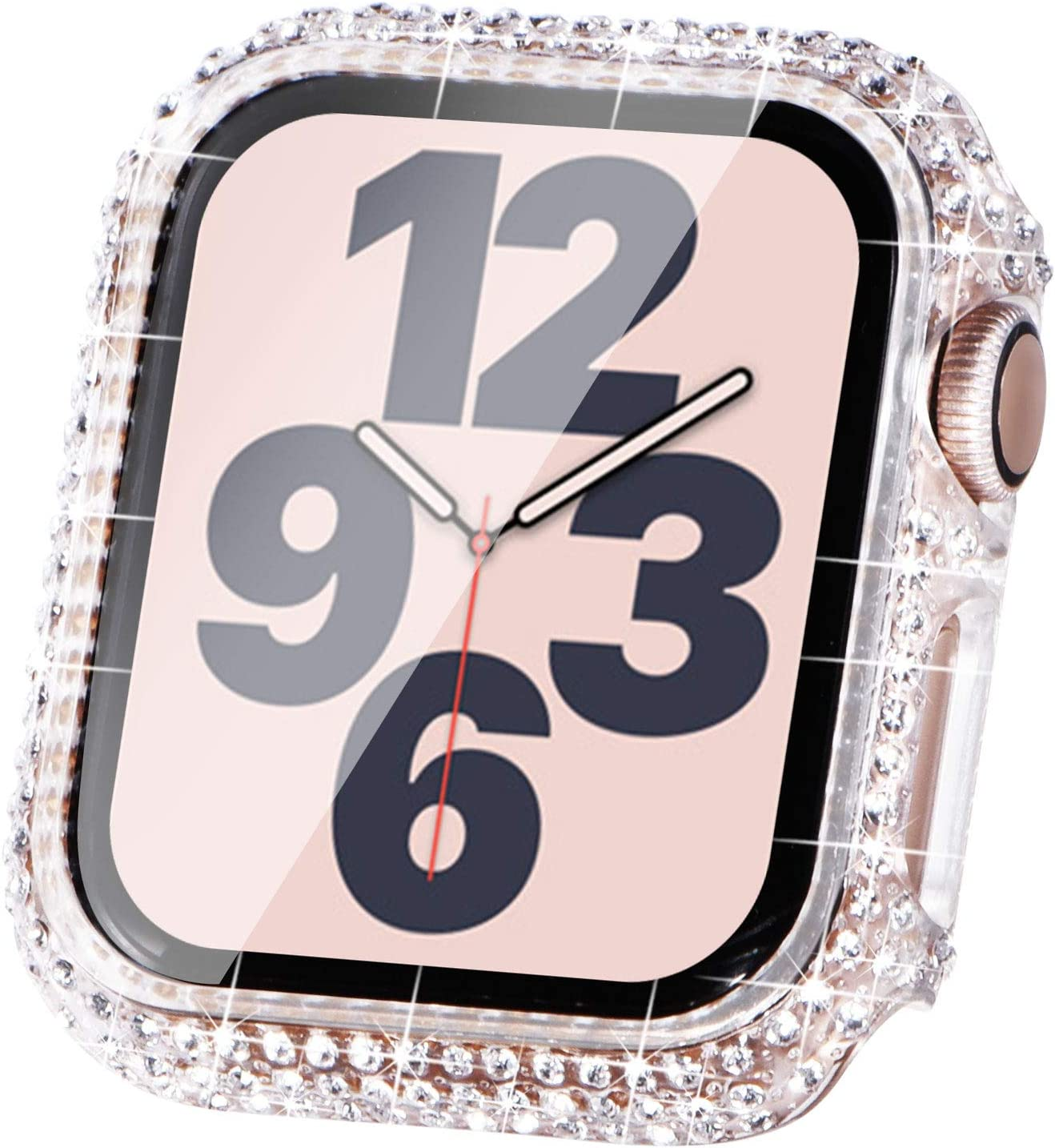Surace Compatible with Apple Watch Case 40mm for Apple Watch Series 6/5/4/3/2/1, Bling Cases with Over 200 Crystal Diamond Protective Cover Bumper for 38mm 40mm 42mm 44mm (40mm, Clear)