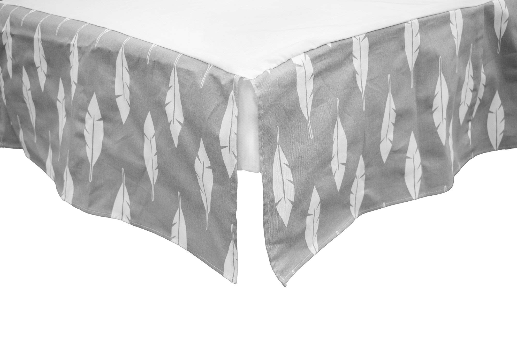 BOOBEYEH & DESIGN Baby Crib Bedding 4 Piece Set, Perfect for Baby Girls and Boys, Includes Gray and White Feather Design, Fitted Sheet, Crib Comforter, Comforter Cover, Skirt. by BOOBEYEH & DESIGN (Image #5)