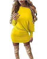 ZANZEA Women's Sexy Casual Slim Off Shoulder Batwing Long Sleeve Tunic Tops Party Mini Dress
