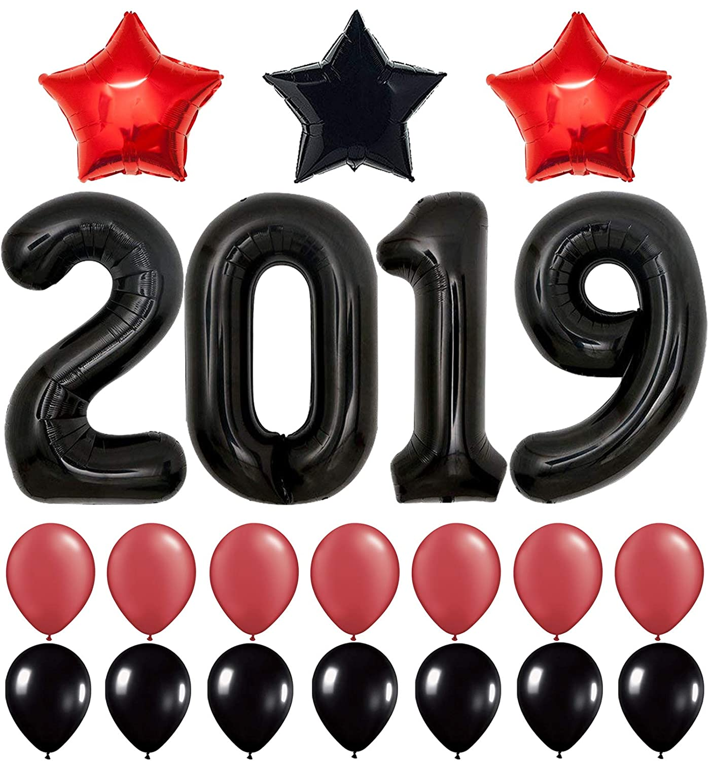 2019 Balloons, Red for New-Year, Large 40 Inch | Red and Black Balloon Kit | New Years Eve Party Supplies 2019 | Graduations Party Supplies 2019 | New Years Party Decorations, Graduations Decorations