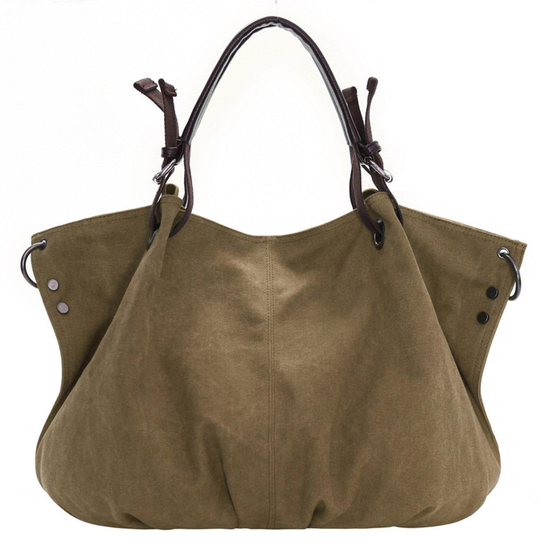 witery femmes de grande capacité imperméable sac vintage toile sac à main sac à bandoulière, Khaki (Kaki) - CLOA0017-03
