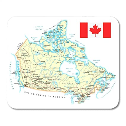 Road Map Of Canada.Amazon Com Emvency Mouse Pads Highway Yellow Road Map Of Canada