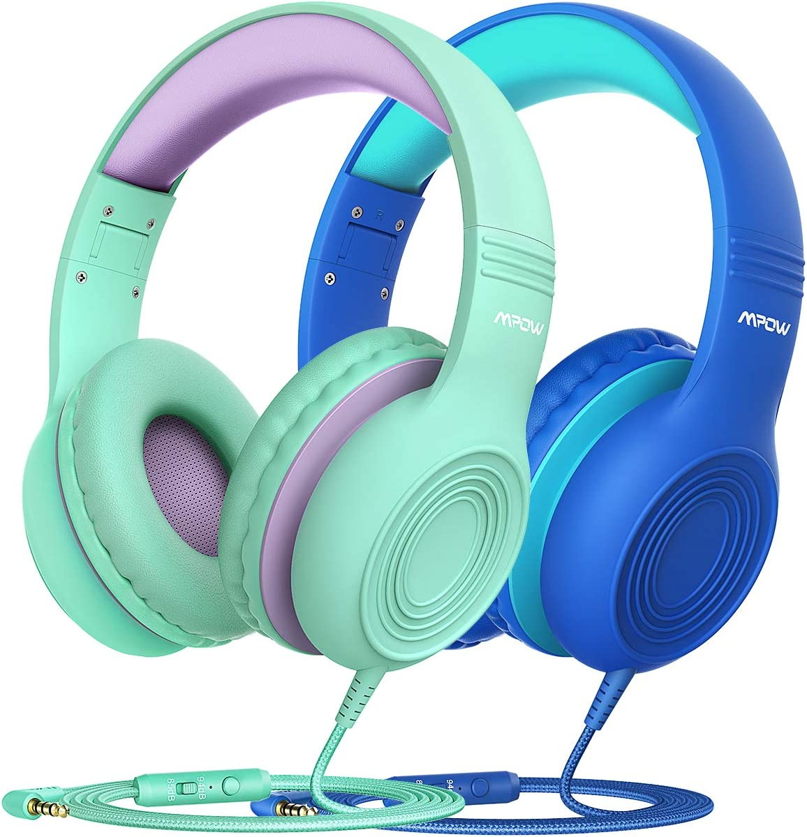 Mpow CH6 2 Pack Kids Headphones with Safety 85dB Volume Limited, Wired On-Ear Headsets for Kids, Food Grade Silicone, Lightweight, Comfortable Children Headphones for School