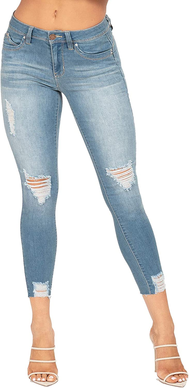 YMI Womens Junior Wannabettabutt Mid-Rise Distressed Denim Ankle Jean