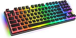 Havit RGB Mechanical Gaming Keyboard 89 Keys Compact Backlit Keyboard with PBT Pudding Keycaps, Blue Switches, Surround Lighting, Full Key Anti-Ghosting, USB Wired Ergonomic Keyboard for Windows Desktop PC Game